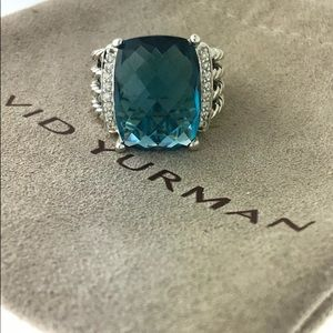 David Yurman Wheaton Ring Blue Topaz & Diamonds